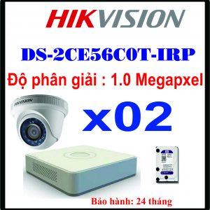 TRỌN BỘ 02 CAMERA HIKVISION DS-2CE56C0T-IRP 1.0 MEGAPIXEL