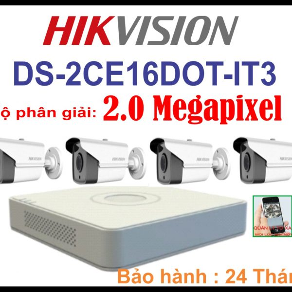 Hệ Thống 4 Camera Khuyến Mãi DS-2CE16DOT-IT3 2.0 Megapixel